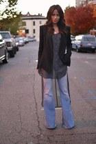 gray sheer Sanctuary blouse - flare Alice & Olivia jeans