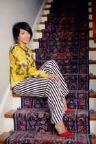 lemon silk top RVCA blouse - colorblock Zara shoes - pallazo pants Zara panties