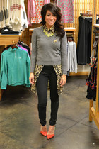 holey sweater Jcrew sweater - Zara pumps - neon yellow Zara necklace