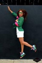 green sheer H & M blouse - bright colors Filas sneakers
