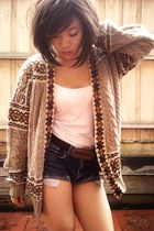white diy Levi shorts - burnt orange Nameless cardigan - Valleygirl top