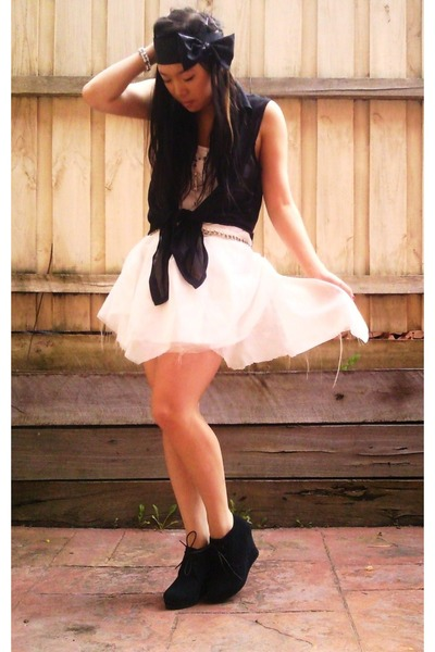 black tony bianco boots - white DIY skirt - black bow headband DIY accessories -