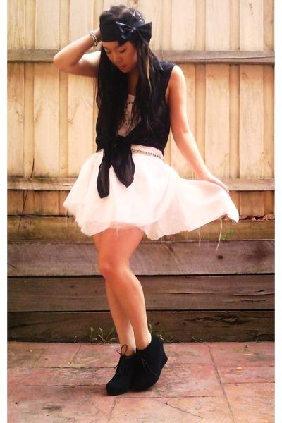 black tony bianco boots - white DIY skirt - black bow headband DIY accessories -