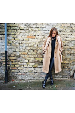 black Zara boots - light pink H&M scarf - black Zara jumper
