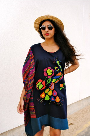 Craftycloth dress - straw Peru Inca Market hat - metallic asos sunglasses