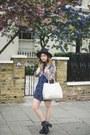 Blue-native-rose-dress-black-chicnova-hat-silver-repertoire-fashion-bag