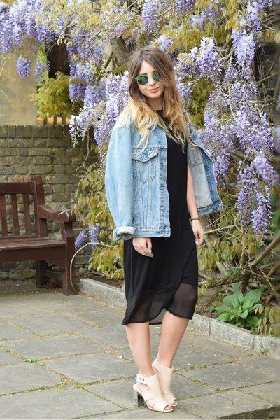 black Dorothy Perkins dress - turquoise blue vintage jacket