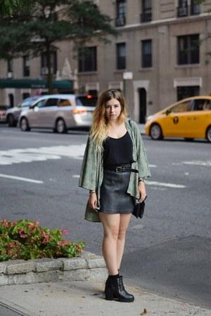 black Oasis skirt - aquamarine Miss Selfridge jacket - black Oasis top