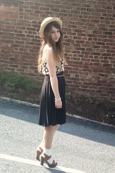 tan Primark hat - black Primark skirt - white TK Maxx top