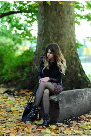 black shelikescom boots - magenta new look dress - black H&M jacket