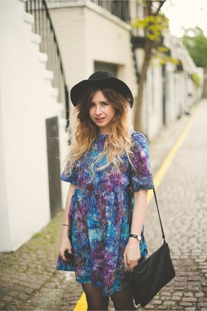 violet mod dolly dress - black H&M hat - black Primark bag