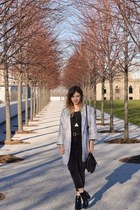 dark gray Topshop jeans - periwinkle Oasis coat - dark gray Primark top