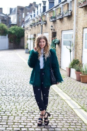 teal Bershka coat - navy Oasis pants - white Miss Selfridge top