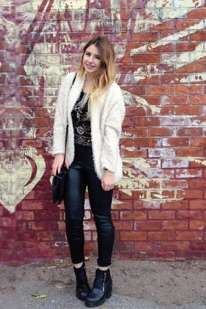 black Forever 21 top - black H&M pants - ivory H&M cardigan