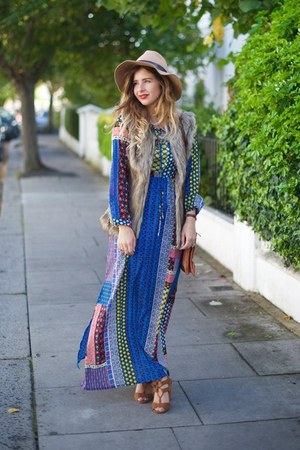 blue Mela London dress - camel Topshop hat - tan Mela London jacket