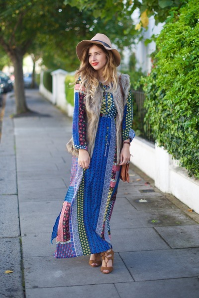 blue Mela London dress - camel Topshop hat - tan Mela London jacket