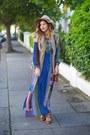 Blue-mela-london-dress-camel-topshop-hat-tan-mela-london-jacket