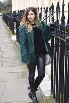 teal Bershka coat - black Topshop jumper - black H&M pants