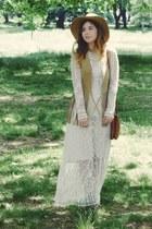 white Miss Selfridge dress - brown Primark bag - camel Miss Selfridge vest
