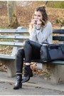 Black-dorothy-perkins-boots-heather-gray-forever-21-sweater-black-h-m-pants