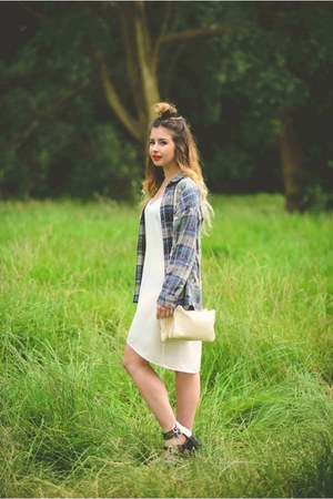 chartreuse Topshop shirt - white Oasis dress - eggshell Forever 21 bag