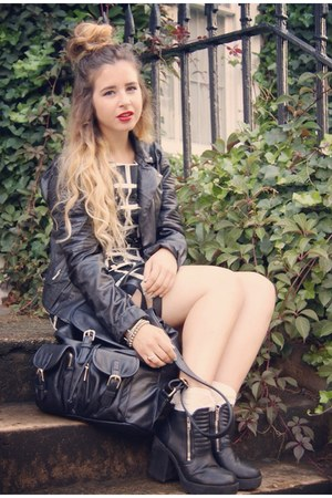 black SheLikes jacket - black H&M boots - black French Connection dress