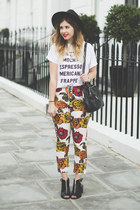 white Missguided t-shirt - ruby red Motel Rocks pants - black Topshop heels