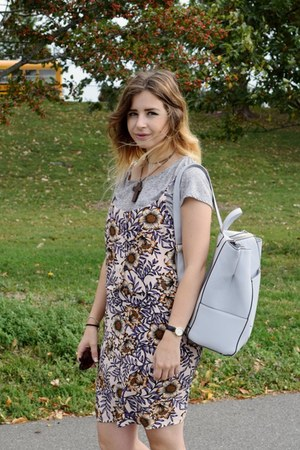 pink Topshop dress - periwinkle new look bag - gray H&M t-shirt