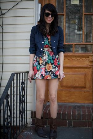 thrifted boots - Urban Renewal dress - thrifted jacket