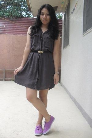 dark gray Penshoppe dress - light purple sneakers - black belt