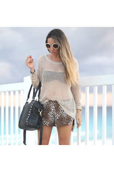hollow romwe sweater - studded Aldo bag - animal print Forever 21 shorts