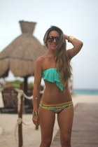 printed Maaji swimwear - mirrored Choies sunglasses - ruffles LSpace bra