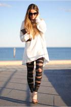 ripped OASAP leggings - pochette Louis Vuitton bag - ripped OASAP jumper