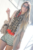 Sheinside coat - leopard Zara scarf - satchel romwe bag - romwe sunglasses