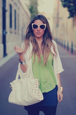 bicolor Sugarlips dress - cat eye romwe sunglasses - silver cuffs Nelly bracelet