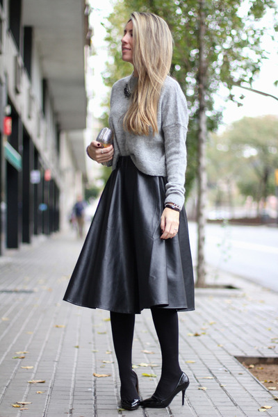 leather midi Choies skirt