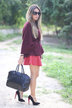 oxblood lulus jumper - OASAP bag - skater leather romwe skirt - Zara heels