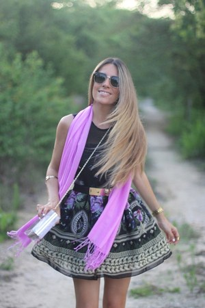 floral print OASAP dress - lilac Daily Charms scarf - Choies bag