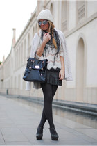 Pura Lopez wedges - adorebag bag - Zara cardigan - Zara blouse