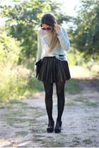 leather pleated romwe skirt - mint romwe sweater - magenta studded romwe bag