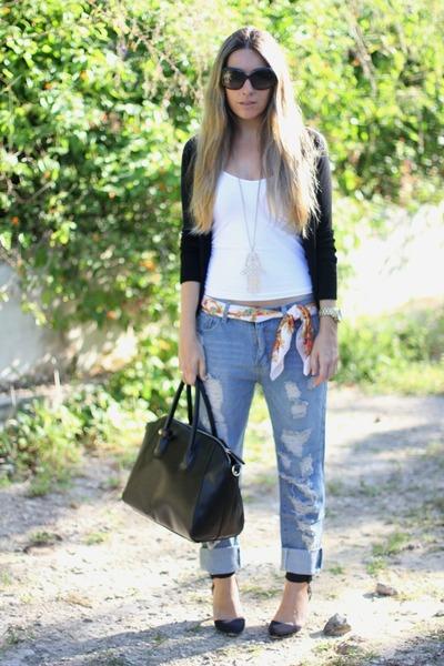 boyfriend jeans romwe jeans - romwe scarf - oasa bag