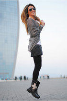 exe boots - H&M skirt - romwe jumper