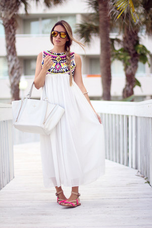 summer dress Sheinside dress - white tote Pour La Victoire bag