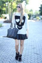 skulls Sheinside jumper - leather Sheinside skirt - studded Zara sneakers