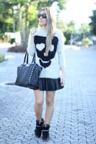 skulls Sheinside jumper - leather Sheinside skirt - studded Zara sneakers