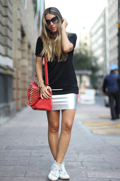 silver skirt romwe skirt - studded bag pull&bear bag - romwe sunglasses