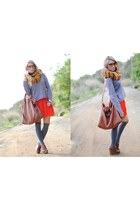 Buff scarf - Medwinds bag - Forever 21 skirt - Medwinds wedges