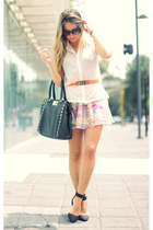 studded Aldo bag - romwe sunglasses - scarf print romwe skirt - Zara heels