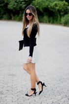 silver romwe skirt - romwe bag - armani sunglasses - OASAP bracelet - Zara heels