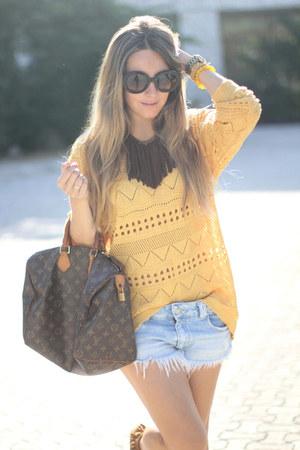 tribal Sheinside sweater - fringes romwe boots - speedy Louis Vuitton bag